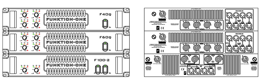 F-Series Amplifiers Technical Drawing